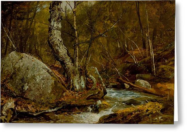 Autumn Landscape Paintings Greeting Cards - Woodland Interior Greeting Card by John Frederick Kensett