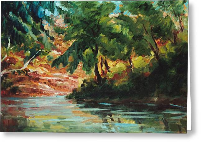 Peaceful Scene Greeting Cards - Woodland Stream Greeting Card by Ethel Vrana