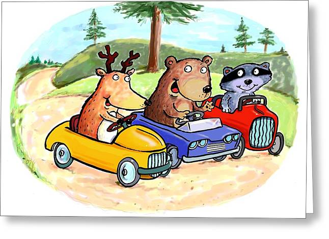 Scott Nelson And Son Greeting Cards - Woodland Traffic Jam Greeting Card by Scott Nelson