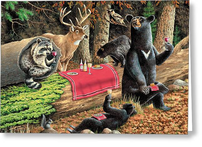 Raccoon Paintings Greeting Cards - Woodland Wine Tasting Greeting Card by JQ Licensing