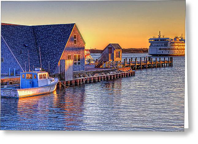 Steam Ship Greeting Cards - Woods Hole Sunset Greeting Card by Michael Petrizzo