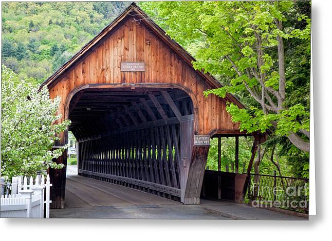 Bridge Of Flowers Greeting Cards - Woodstock Middle Bridge Greeting Card by Susan Cole Kelly