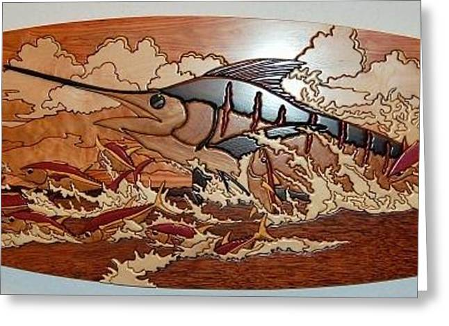 Fishing Reliefs Greeting Cards - Woodwork Greeting Card by Carey Chen