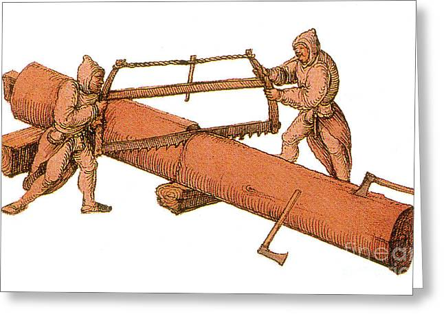 Saw Greeting Cards - Woodworkers, Two-man Crosscut Saw Greeting Card by Photo Researchers