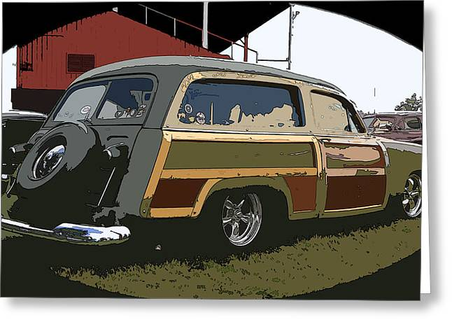 Kustom Kulture Greeting Cards - Woody Wagon Greeting Card by Steve McKinzie
