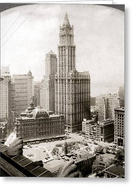 Woolworth Building Greeting Cards - WOOLWORTH BUILDING, 1920s Greeting Card by Granger