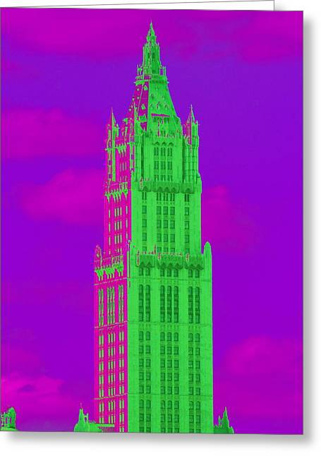 Woolworth Greeting Cards - Woolworth in Green and Purple Greeting Card by Christopher Kirby