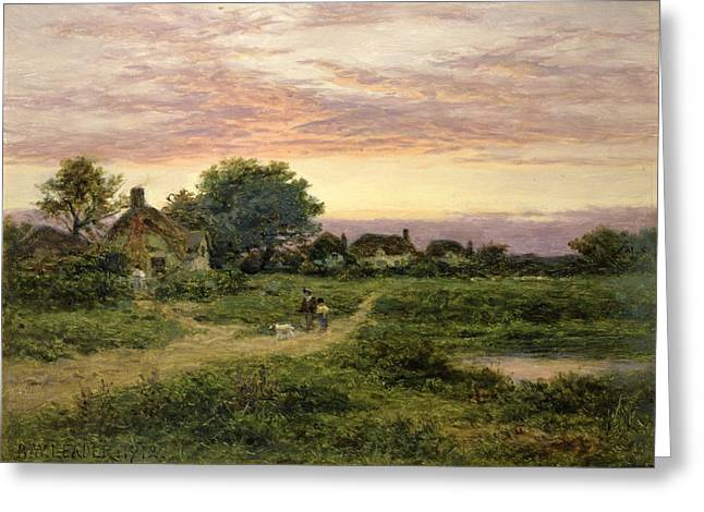 Dog Walking Paintings Greeting Cards - Worcestershire Cottages Greeting Card by Benjamin William Leader