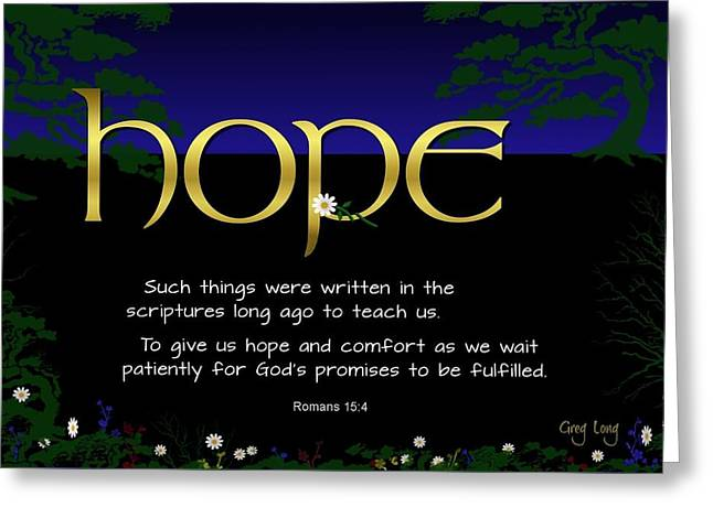 Bible Scripture Canvas Greeting Cards - Word of hope Greeting Card by Greg Long