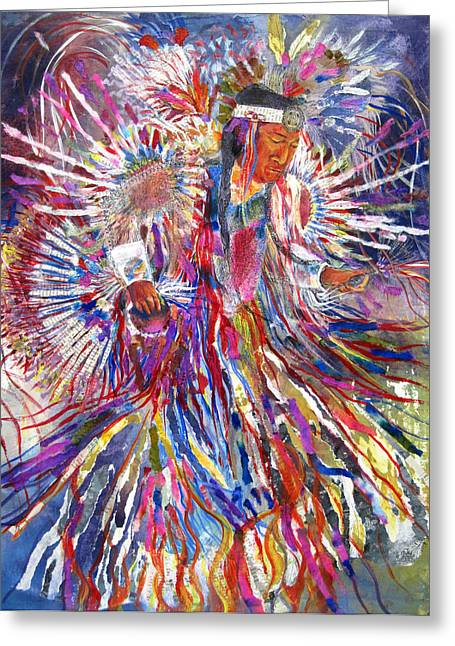 Fancy-dancer Paintings Greeting Cards - Word Warrior Greeting Card by Kristelle Ulrich