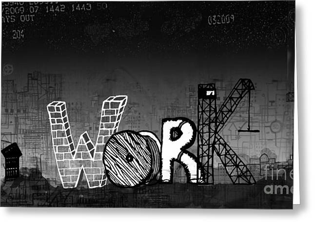 Slaves Mixed Media Greeting Cards - Work Greeting Card by Andy  Mercer