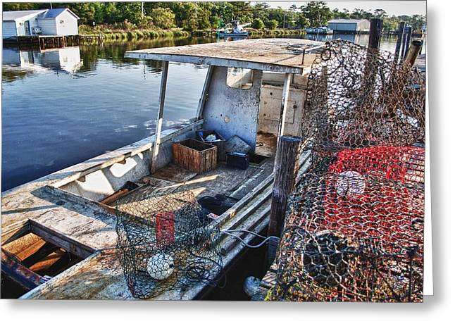 Crimson Tide Greeting Cards - Work Boat and the Nets Greeting Card by Michael Thomas