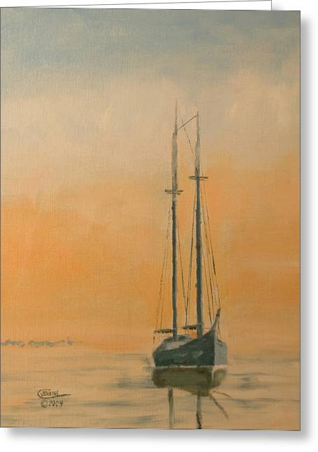 Tall Ships Greeting Cards - Work Boat at Rest Greeting Card by Christopher Jenkins
