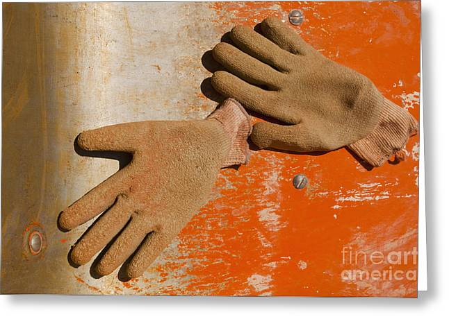 Work Gloves On Metal Surface Greeting Card by Thom Gourley/Flatbread Images, LLC