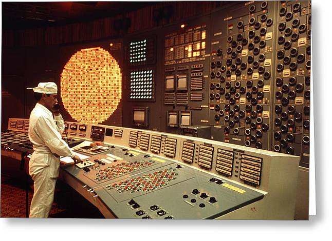 Control Room Greeting Cards - Worker In A Control Room Of Nuclear Power Station Greeting Card by Ria Novosti