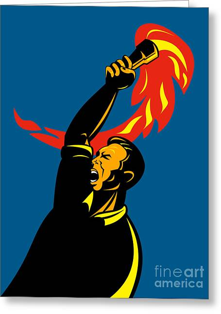 Protest Greeting Cards - Worker With Torch Greeting Card by Aloysius Patrimonio
