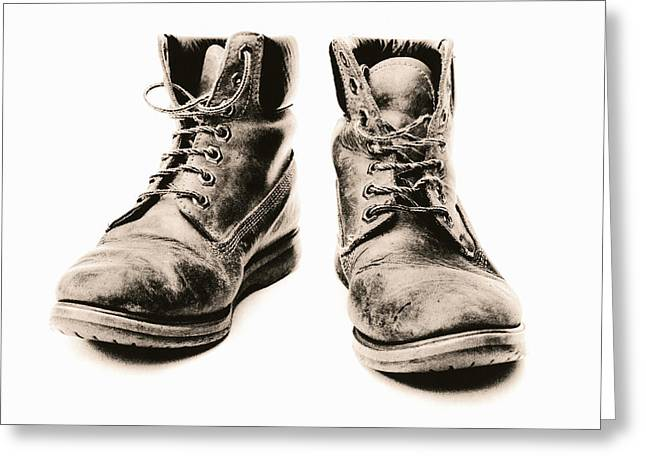 Unhygienic Greeting Cards - Workers Boots Greeting Card by Kevin Curtis