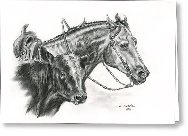 Quarter Horse Greeting Cards - Working Cowhorse Greeting Card by Jana Goode