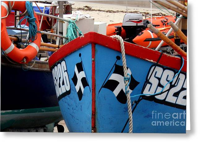 St Piran Greeting Cards - Working Harbour Greeting Card by Terri  Waters