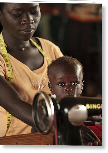 Poor Education Greeting Cards - Working Mother And Child, Uganda Greeting Card by Mauro Fermariello