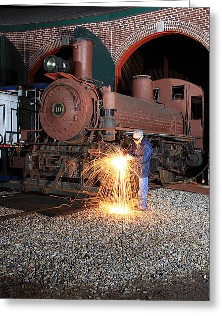 Frank Pietlock Greeting Cards - Working On The Railroad Greeting Card by Frank Pietlock
