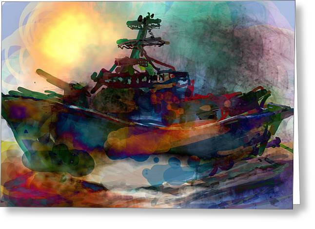 James R Thomas Greeting Cards - Working Vessel Greeting Card by James Thomas