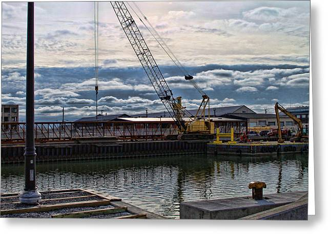Construction Site Greeting Cards - Working With Clouds Greeting Card by Peter Chilelli