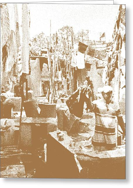 Squalid Greeting Cards - Workmen Sepia Greeting Card by Kantilal Patel