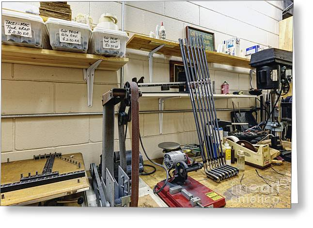Fabrication Greeting Cards - Workshop for Manufacturing Golf Clubs Greeting Card by Skip Nall