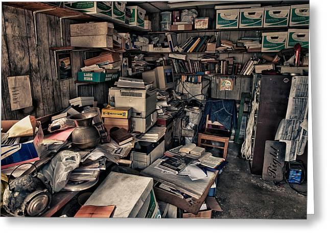 Disorganization Greeting Cards - Workspace.3566 Greeting Card by Gary LaComa