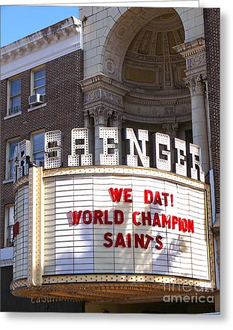 Saenger Greeting Cards - World Champion Saints Greeting Card by Jeanne  Woods
