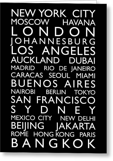 Bus Greeting Cards - World Cities Bus Roll Greeting Card by Michael Tompsett