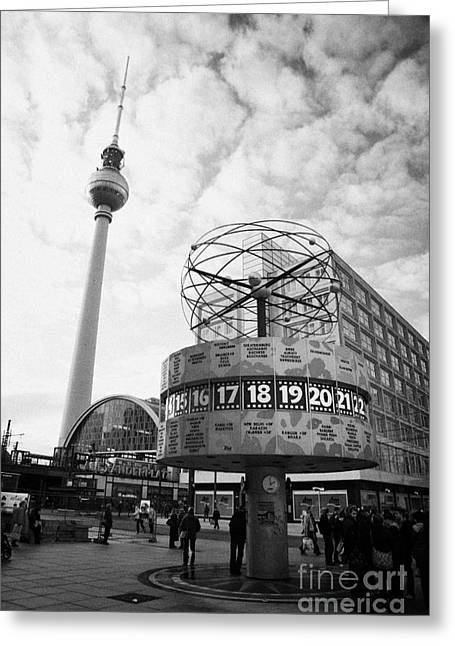 Berlin Germany Greeting Cards - world clock Weltzeituhr at Alexanderplatz meeting place with the tv tower and Berolinahaus berlin Greeting Card by Joe Fox