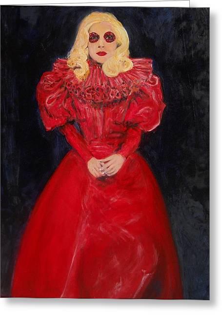 Lady Gaga Paintings Greeting Cards - World Dominatrix Greeting Card by Gerald Hubert