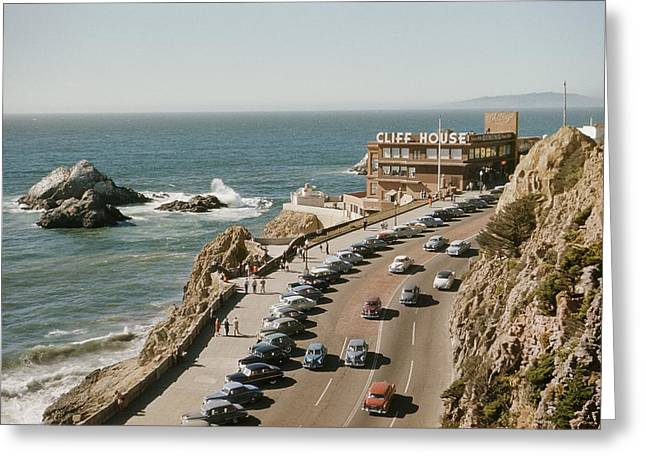Cliffs And Houses Greeting Cards - World Famouse Cliff House Restaurant Greeting Card by J. Baylor Roberts