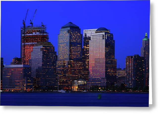 City Lights Greeting Cards - World Financial Center New York Greeting Card by Rick Berk