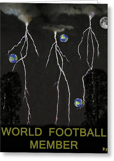 Official Member Mixed Media Greeting Cards - World Football Member Greeting Card by Eric Kempson