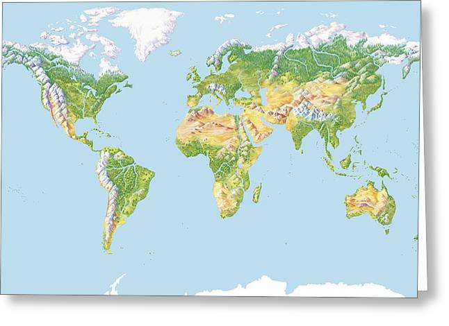 Northern Africa Greeting Cards - World Land Cover, Global Map Greeting Card by Gary Hincks