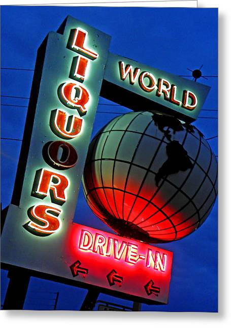 Night Scenes Greeting Cards - World Liquors Drive In Greeting Card by Elizabeth Hoskinson