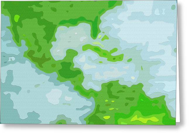 World Map - Central America-caribbean-southern United States Greeting Card by Steve Ohlsen