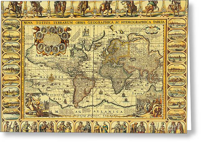 Seventeenth-century Greeting Cards - World Map 1626 Greeting Card by Photo Researchers
