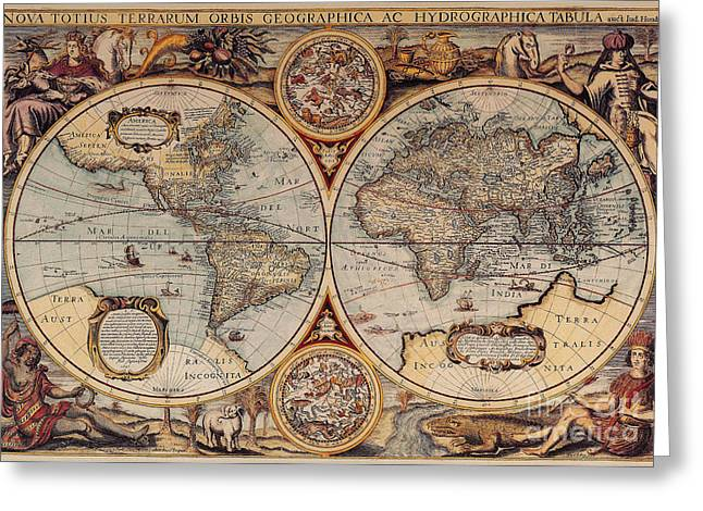17th-century Greeting Cards - World Map 1636 Greeting Card by Photo Researchers