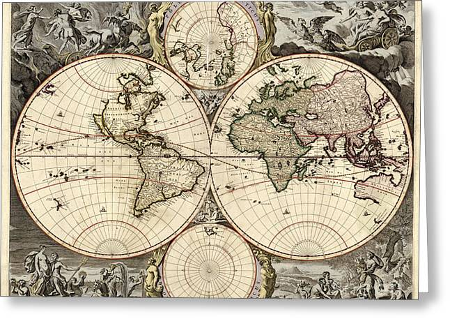1690 Greeting Cards - World Map, 1690 Greeting Card by Photo Researchers