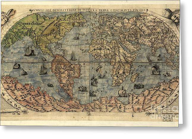 1500s Greeting Cards - World Map, 16th Century Greeting Card by Science Source