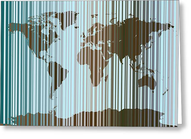 World Map Abstract Barcode Greeting Card by Michael Tompsett
