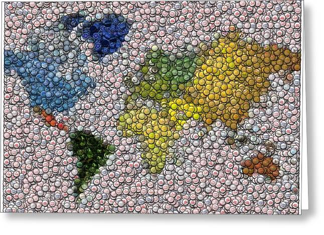 Bottlecap Greeting Cards - World Map Bottle Cap Mosaic Greeting Card by Paul Van Scott