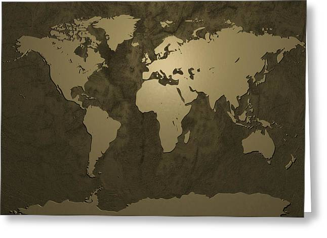 Golds Digital Art Greeting Cards - World Map Gold Greeting Card by Michael Tompsett