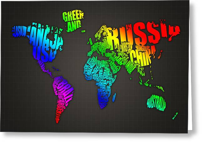World Maps Mixed Media Greeting Cards - World Map in Words Greeting Card by Michael Tompsett