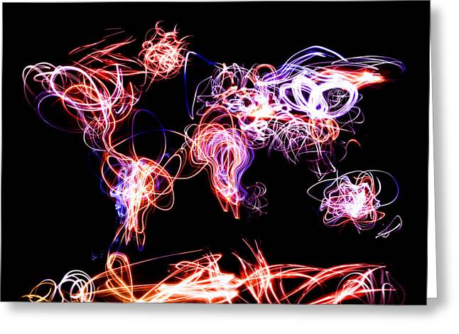 World Map Light Writing Greeting Card by Michael Tompsett
