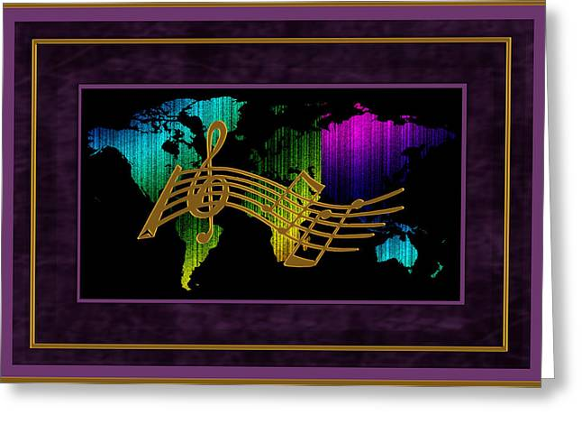 World Map Music Greeting Card by Daryl Macintyre